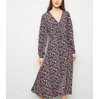 Black Bright Floral Long Sleeve Wrap Midi Dress New Look
