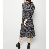 Black Floral Long Sleeve Wrap Midi Dress New Look
