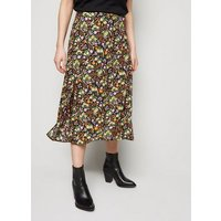 Petite Black Floral Midi Skirt New Look