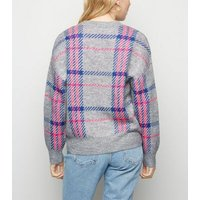 Petite Light Grey Neon Check Jumper New Look