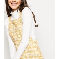 Mustard Textured Check Pinafore Dress New Look