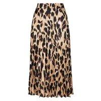 Petite Leopard Print Pleated Satin Midi Skirt New Look