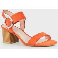 Bright Orange Comfort Flex Ring Buckle Block Heels New Look