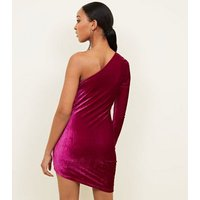 Parisian-Bright-Pink-Velvet-One-Shoulder-Mini-Dress-New-Look