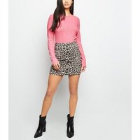 petite bright pink neon ribbed top new look
