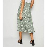 Light Green Spot Side Split Midi Skirt New Look