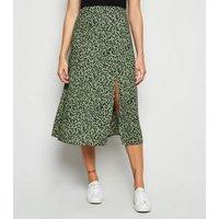 Green Spot Side Split Midi Skirt New Look