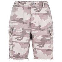 Pink Camo Print Utility Denim Shorts New Look