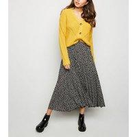 Black Ditsy Floral Pleated Midi Skirt New Look
