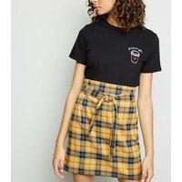 Yellow Check Paperbag Mini Skirt New Look