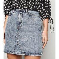 Pale Blue Acid Wash Denim Mini Skirt New Look