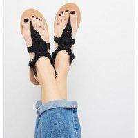 Black Crochet Strap Flat Sandals New Look