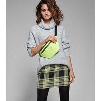 Black and Neon Yellow Check Tube Skirt New Look