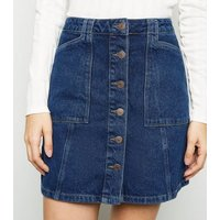 Blue Patch Pocket Denim Skirt New Look