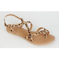Stone Leather Leopard Print Strappy Flat Sandals New Look