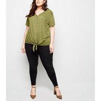 Curves Khaki Linen-Look Tie Front T-Shirt New Look
