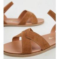Wide Fit Tan Cross Strap Footbed Sandals New Look Vegan