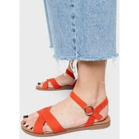 Wide Fit Red Cross Strap Footbed Sandals New Look