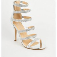 Silver Diamante Embellished Strappy Stiletto Heels New Look