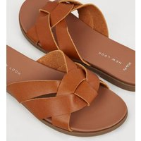 Wide Fit Tan Leather-Look Footbed Sliders New Look