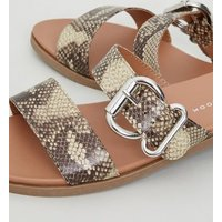 Wide Fit Stone Faux Snake Footbed Sliders New Look