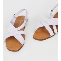 Wide Fit Lilac Suede Strappy Flat Sandals New Look