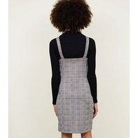 Cameo Rose Grey Prince of Wales Check Pinafore Dress New Look