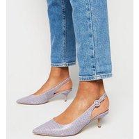 Wide Fit Lilac Faux Croc Kitten Heel Slingbacks New Look