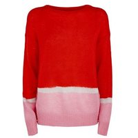 JDY Red Glitter Colour Block Jumper New Look