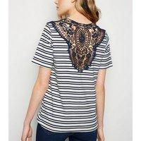JDY Navy Stripe Crochet Back Top New Look