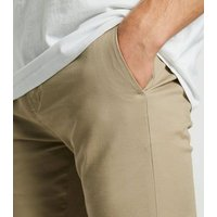 Mens Stone Skinny Stretch Cropped Trousers New Look