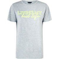 Grey Best Life Neon Slogan T-Shirt New Look