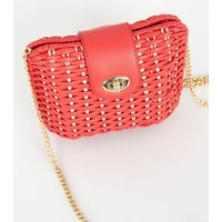 Red Straw Effect Cross Body Bag New Look
