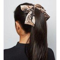 Black Snake Print Bow Hair Clip New Look