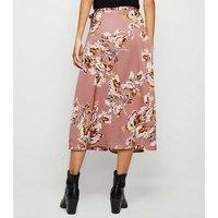 Blue Vanilla Deep Pink Floral Wrap Midi Skirt New Look