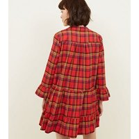 Cameo-Rose-Red-Check-Smock-Dress-New-Look