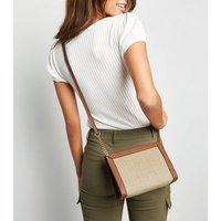 Stone Straw Effect Panel Cross Body Bag New Look