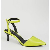 Yellow Neon Square Back Kitten Heel Courts New Look