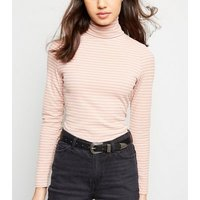 Pink Stripe Roll Neck Top New Look