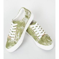 Girls Green Tie Dye Lace-Up Trainers New Look
