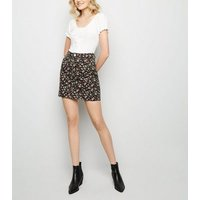 Black Floral Denim Mini Skirt New Look