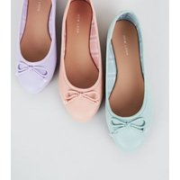 Lilac Leather-look Ballet Pumps New Look