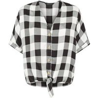 Black Gingham Tie Front Short Sleeve Shirt New Look