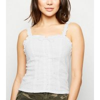 White Broderie Lace Up Cami New Look