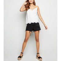 White Broderie Button Front Cami New Look