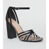 Black Faux Snake Strappy Block Heels New Look