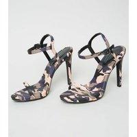 Pink Camo Print Stiletto Heel Sandals New Look