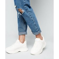 White Leather-Look Chunky Trainers New Look