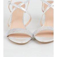 Silver Metallic Diamante Strappy Heels New Look Vegan