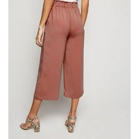 Coral Tie Waist Cropped Trousers New Look